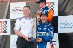 Takuma Sato poses for pictures after winning the 2019 Honda Indy Grand Prix of Alabama at Barber Motorsports Park. (Billy Brown/Alabama NewsCenter)