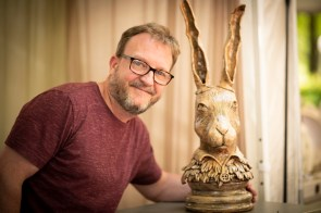 Nelson Grice sculpts whimsical yet grounded works of art. (Phil Free / Alabama NewsCenter)