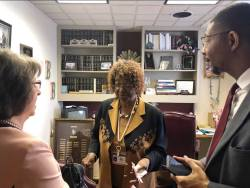 Gail Piggott, left, executive director of the Alabama Partnership for Children, and Lee Johnson III, right, director of First 5 Alabama, talk with state Rep. Barbara Boyd of Anniston about early childhood education. (contributed)