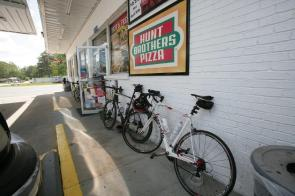 Bikes used by participants get a brief rest. (Meg McKinney)