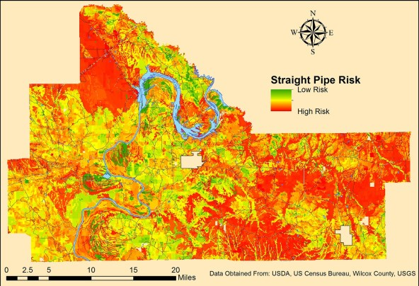 This map shows the risk of straight pipe wastewater drainage from properties not connected to a sewer system in Wilcox County. (University of Alabama)