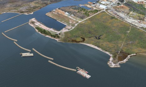 Stage one of the restoration project is the installation of breakwaters at Lightning Point. (contributed)