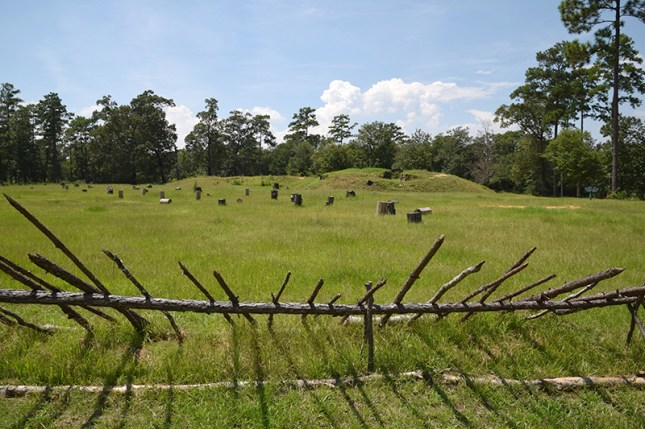 "A Confederate fortification known as ""Redoubt No. 4"" is seen at Blakeley State Park, Baldwin County. The fort was the site of one of the last battles of the Civil War in April 1865. (From Encyclopedia of Alabama, photograph courtesy of Historic Blakeley State Park)"