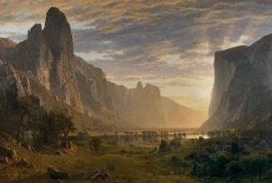 Looking Down Yosemite Valley, California by Albert Bierstadt, 1865. Gift of the Birmingham Public Library. (From Encyclopedia of Alabama, photo courtesy of the Birmingham Museum of Art)