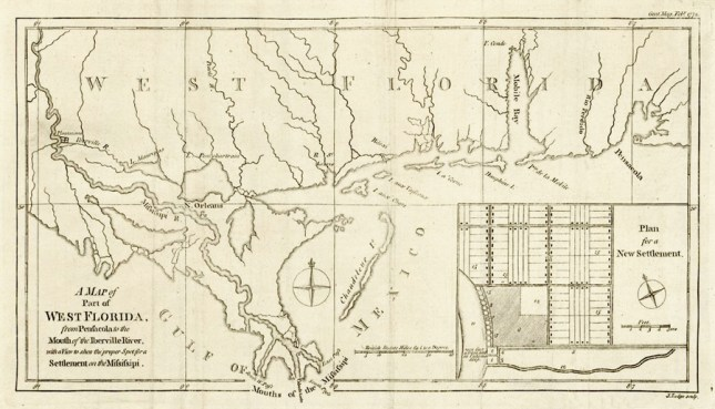This 1772 map by British engraver John Lodge shows the colony of West Florida. Originally held by Spain after 1513, it fell under British control in 1763 and was retaken by Spain in 1783. The United States took possession of the colony in 1813. (From Encyclopedia of Alabama, photo courtesy of the Library of Congress)