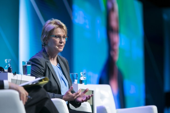 Vicki Hollub, president and chief executive officer of Occidental Petroleum Corp., speaks during the 2019 CERAWeek by IHS Markit conference in Houston, Texas. (F. Carter Smith/Bloomberg)