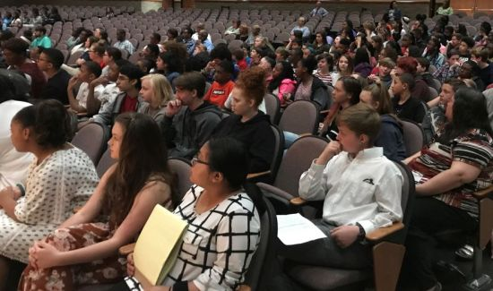 Students listened attentively. (Donna Cope/Alabama NewsCenter)