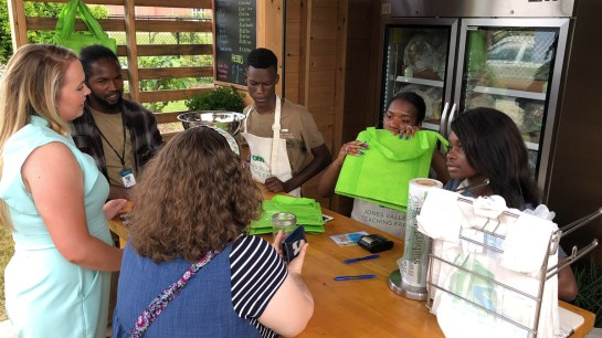 Students operate the Farm Stand at Woodlawn High School. (Dennis Washington / Alabama NewsCenter)