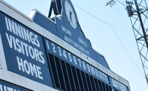 The manual scoreboard at Rickwood Field is a replica of a 1948 scoreboard. (Solomon Crenshaw Jr./Alabama NewsCenter)