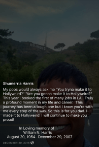 Shumerria Harris celebrated her first Hollywood acting job while honoring her late father in 2015. (Courtesy of Shumerria Harris)