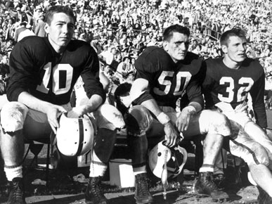 Bart Starr, left, was a standout player at the University of Alabama but became a legendary quarterback with the NFL's Green Bay Packers. (Photo courtesy of Paul W. Bryant Museum, University of Alabama)