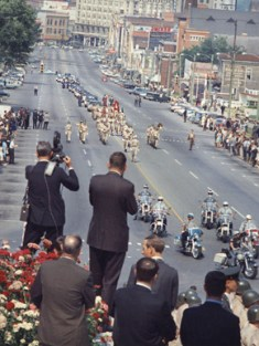 The funeral procession for Gov. Lurleen Wallace proceeds along Dexter Avenue toward the Capitol in Montgomery on May 9, 1968. (From Encyclopedia of Alabama, Alabama Department of Archives and History)