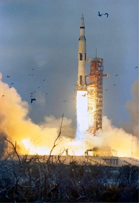 Apollo 9 lifts off into space. (NASA)