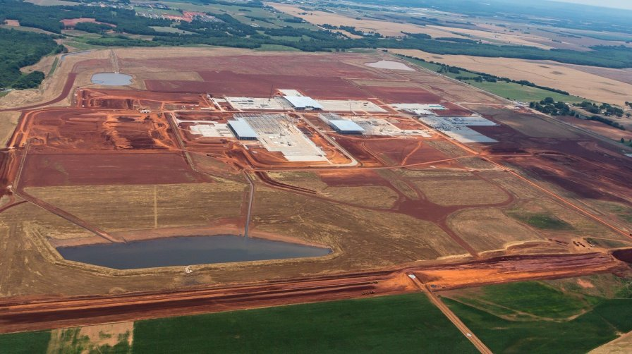 Construction is underway on the $1.6 billion Mazda Toyota Manufacturing USA plant in Huntsville. (Mazda Toyota Manufacturing USA)