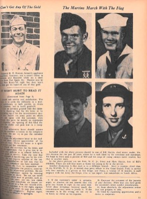 A page from Powergrams shows photos of Alabama Power employees and their relatives serving in the military during World War II. (Powergrams Archives)