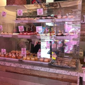 Fresh-baked cupcakes inside the shop in nearly 50 flavors keep customers coming back to see what's new on the menu. (Keisa Sharpe)