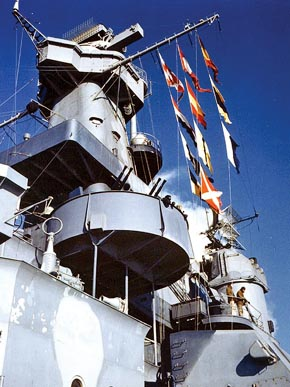 Signal flags fly aboard the battleship USS Alabama in December 1942, before it deployed to active duty in the North Atlantic. (From Encyclopedia of Alabama, U.S. Navy)
