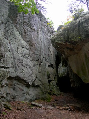 Geologic formations at Cherokee Rock Village, also known as Sand Rock, on Lookout Mountain in Cherokee County. (From Encyclopedia of Alabama, photo courtesy of Jimmy Emerson)
