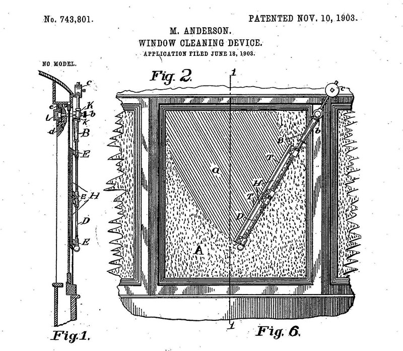 This diagram for an early windshield wiper was submitted by Birmingham inventor Mary Anderson to the U.S. Patent and Trademark Office in 1903. The removable device was to be operated by the driver of the vehicle via an internal handle. (From Encyclopedia of Alabama, courtesy of the United States Patent and Trademark Office)