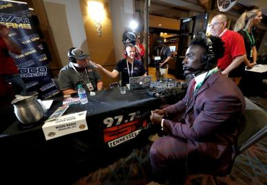 Crimson Tide linebacker Dylan Moses talks with the media at SEC Media Days 2019. (Robert Sutton / UA Athletics)