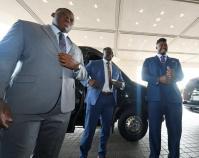 Derrick Brown, Marlin Davidson and Prince Tega Wanogho at SEC Media Days. (Todd Van Emst/AU Athletics)