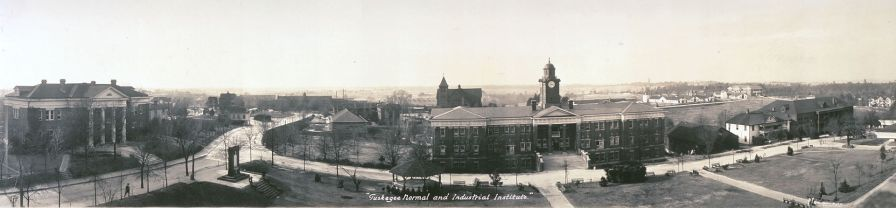 Panoramic photograph of the Tuskegee Normal and Industrial Institute, c. 1916. (Haines Photo Co., Wikipedia)
