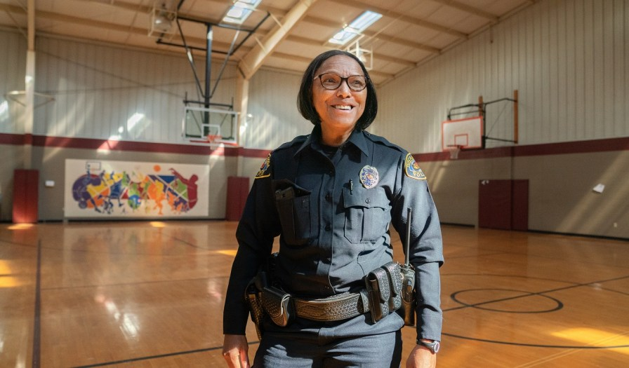 Olympic medalist Lillie Leatherwood in the Tuscaloosa gym where she strives to have a positive impact on the lives of her community's youth as director of Tuscaloosa PAL. (Alabama Power Foundation)