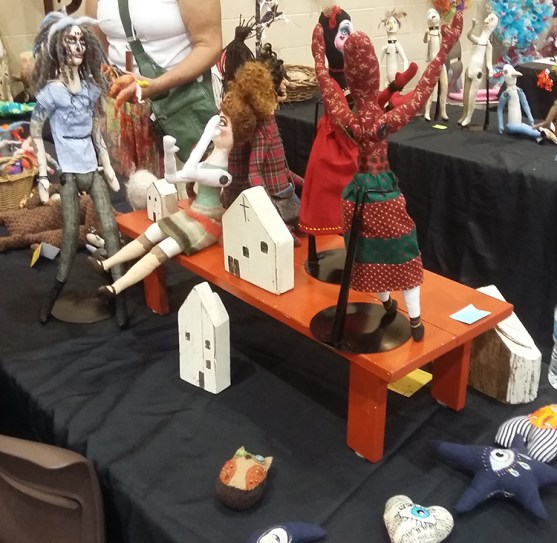 Diana Hiot of Clanton is known for her fabric dolls and other whimsical fabric creations. (Mack Gothard)