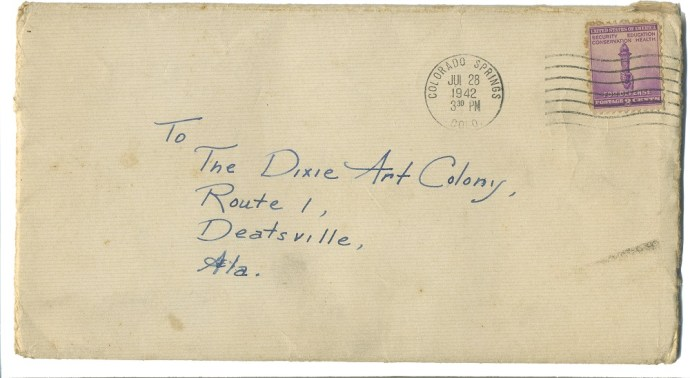An envelope addressed to the Dixie Art Colony in 1942. (contributed)