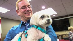 """Greg Kinnaird holds """"Tony the Theatre Dog"""" during a book signing at the Gardendale Public Library. (Dennis Washington / Alabama NewsCenter)"""