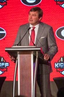 Georgia coach Kirby Smart at SEC Media Days 2019. (Dennis Washington / Alabama NewsCenter)