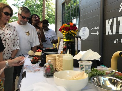 A cooking demonstration featured at The Market at Pepper Place. (Hannah Beasley)