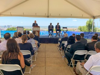 DJ Mackovets, CEO of The World Games 2021 in Birmingham, speaks Wednesday during a special presentation at Birmingham's Vulcan Park and Museum. (Dennis Washington / Alabama NewsCenter)