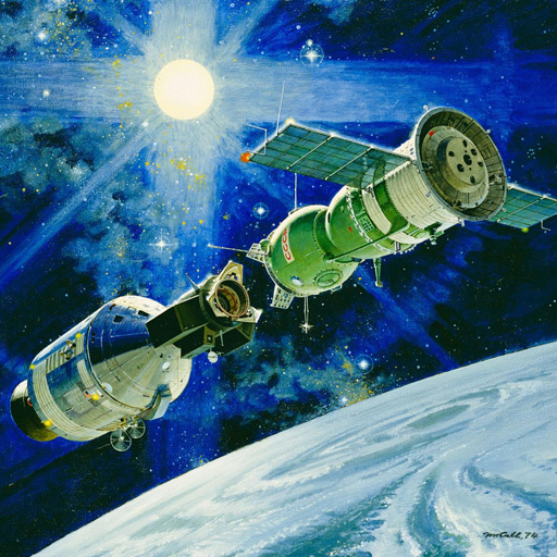 This 1974 painting by artist Robert McCall depicts the planned docking of American and Soviet spacecraft. (NASA)