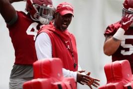 Alabama Associate Head Coach Brian Baker coaches the defensive line. (Kent Gidley/University of Alabama Athletics)