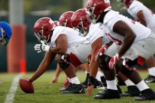 The Alabama offense practices for the 2019 season, which begins Saturday. (Kent Gidley/University of Alabama Athletics)