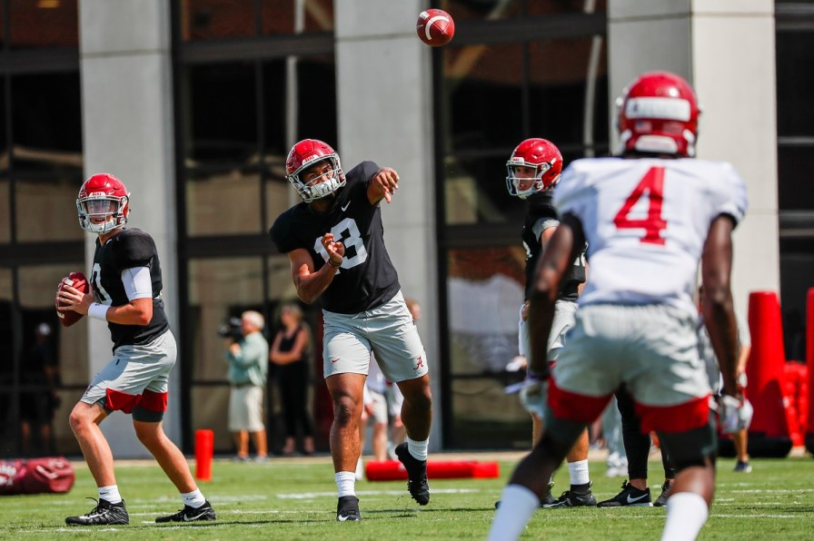 Alabama quarterback Tua Tagovailoa says he'll take a shot downfield when he sees one, even on the first play. (Jeff Hanson/University of Alabama Athletics)