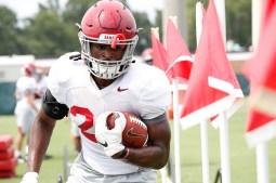 Running back Najee Harris (22). (Robert Sutton/University of Alabama Athletics)