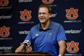 Auburn coach Gus Malzahn talks with the press about the season opener against Oregon. (Todd Van Emst/AU Athletics)