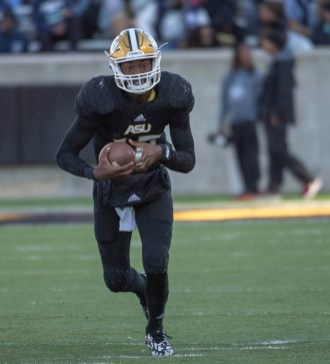 KHA'Darris Davis is contending with Chris Scott for the starting quarterback job at Alabama State. (Alabama State Athletics)