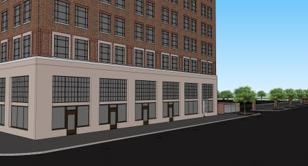The $24 million redevelopment of the American Life/Stonewall building will add 140 apartments to downtown Birmingham. (Hendon + Huckestein Architects PC)