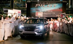 Employees at Honda's facility in Lincoln celebrate a milestone in the production of the Honda Pilot. (contributed)