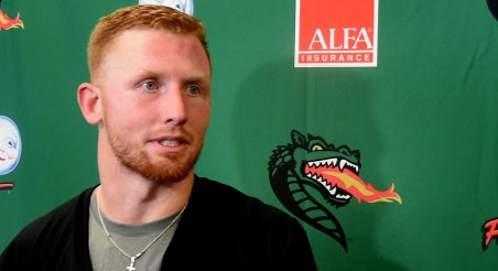 """""""We're going to go out and show everybody,"""" UAB quarterback Tyler Johnston says. (Solomon Crenshaw Jr./Alabama NewsCenter)"""