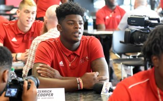 Jacksonville State quarterback Zerrick Cooper meets the press on media day. (Solomon Crenshaw Jr./Alabama NewsCenter)