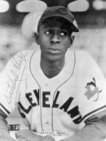 Satchel Paige joined Major League Baseball as a rookie at the age of 42 in 1948 with the Cleveland Indians. He was the first African American to pitch in the American League. (From Encyclopedia of Alabama, The Doy Leale McCall Rare Book and Manuscript Library)