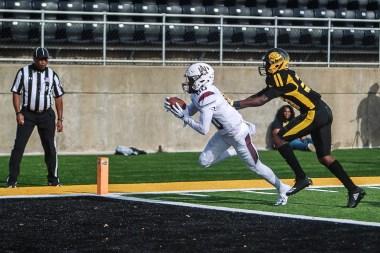 Wide receiver Zabrian Moore scores a touchdown. (Alabama A&M Athletics)
