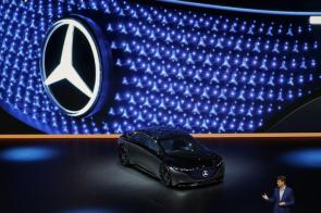Ola Kallenius, CEO of Daimler AG, speaks beside a Mercedes-Benz Vision EQS luxury electric automobile on the opening day of the IAA Frankfurt Motor Show in Frankfurt, Germany, on Tuesday, Sept. 10, 2019. (Alex Kraus/Bloomberg)
