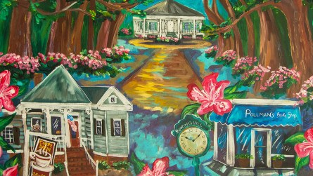 """Ginger Woechan says her paintings are whimsical, """"just like me."""" (Dennis Washington / Alabama NewsCenter)"""