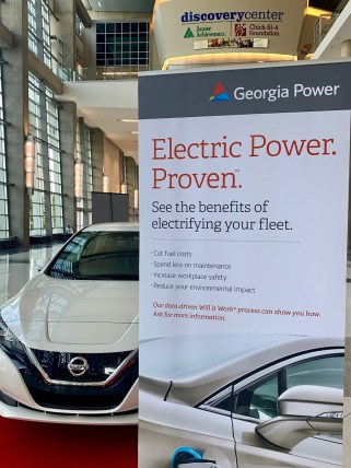 An electric vehicle is displayed at the Smart City Expo Atlanta. (Justin Averette/Alabama NewsCenter)