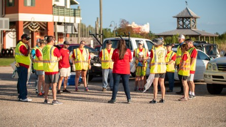 Employees from Alabama Power prepare to clean up areas around the Mobile Bay Causeway. (Dennis Washington / Alabama NewsCenter)